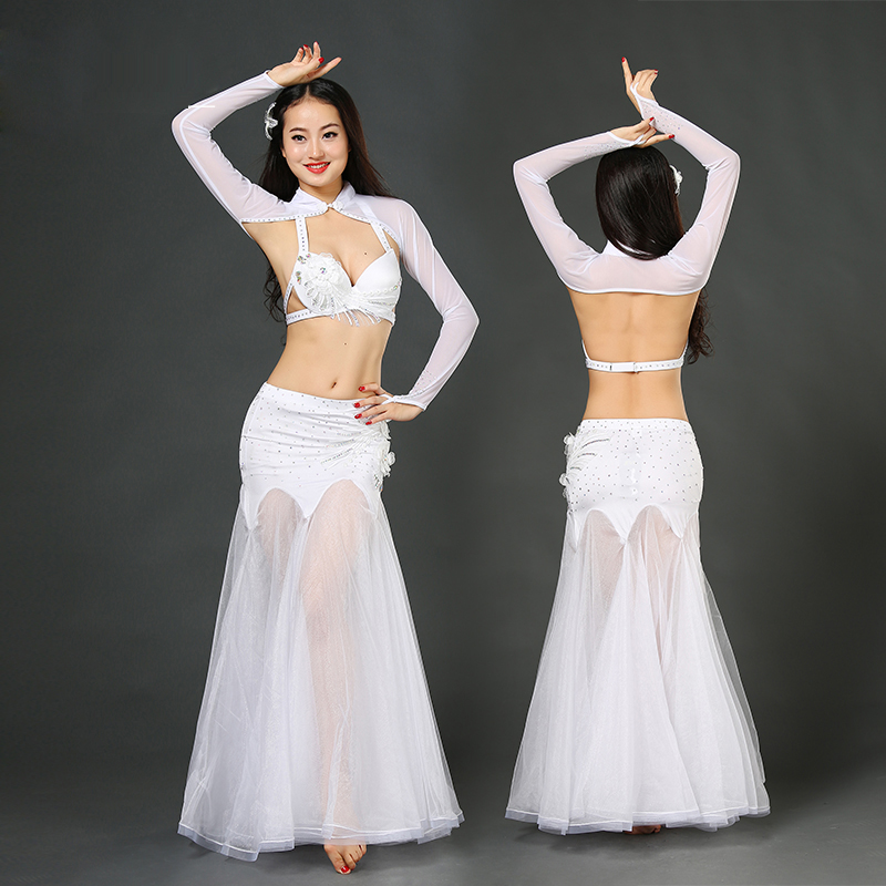 Girls belly dance clothing luxury dance costumes mesh sleeves/bra/skirt 3pcs belly dance set for women belly dance suit B/C cup