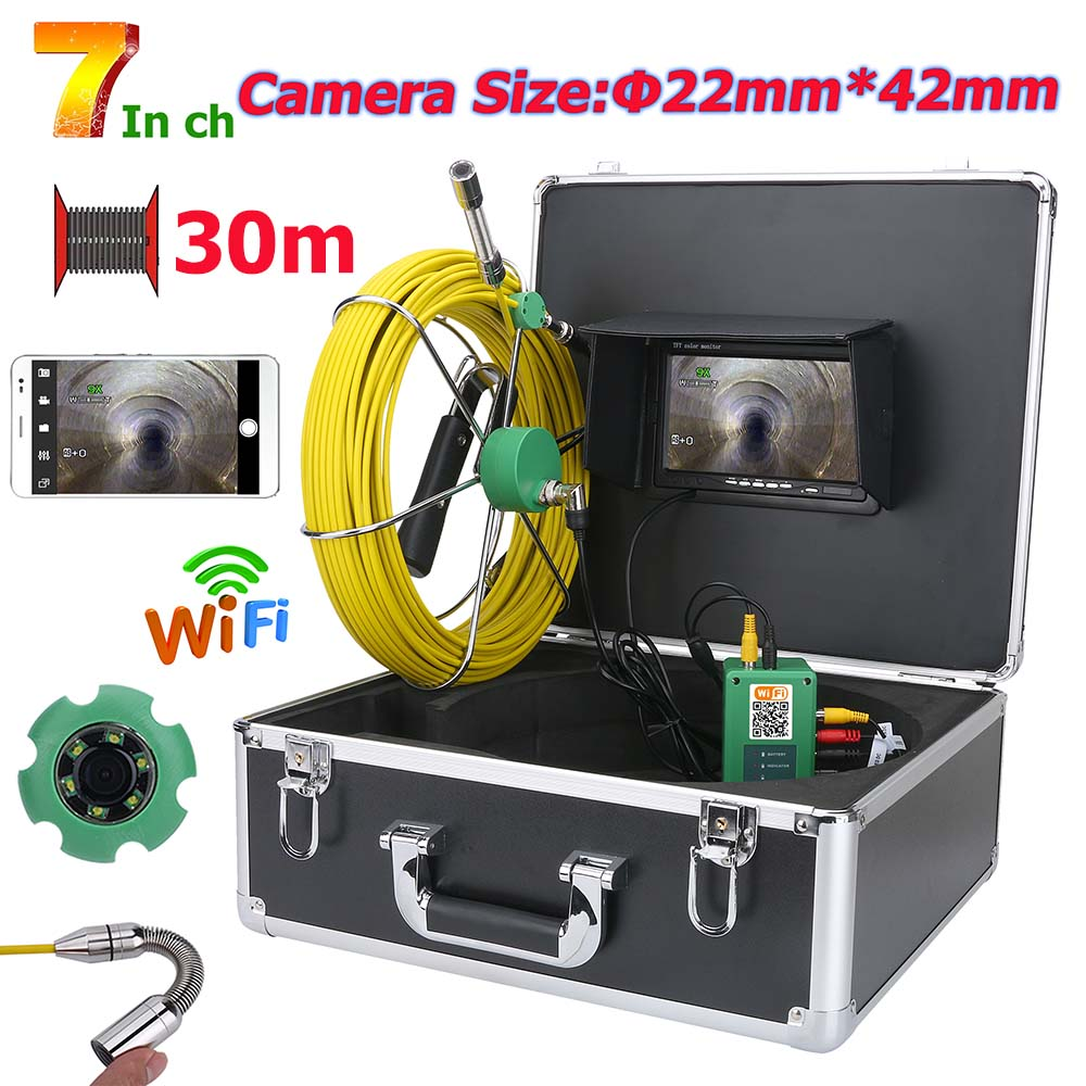 MOUNTAINONE 7inch WiFi Wireless DVR 22mm Pipe Sewer Inspection Video Camera System IP68 1000 TVL Camera with 6W LED APP 50m