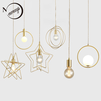 Nordic modern luxury plated brass single E27 LED pendant lights for dining room living room bedroom bathroom restaurant cafe bar