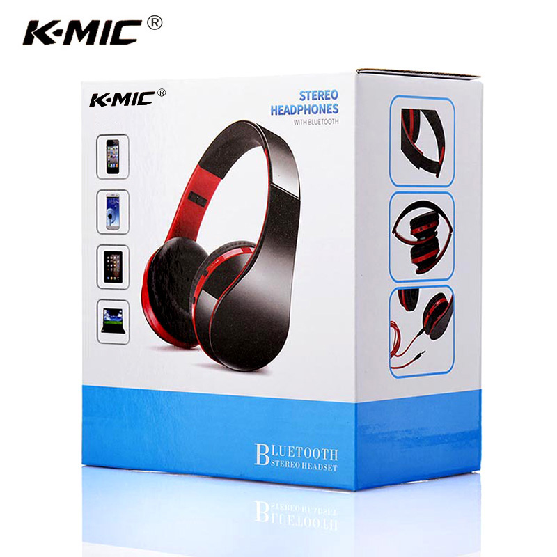 K-MIC Stereo Wireless Bluetooth Headset Head Phones Foldable Sport Bluetooth Earphone with Microphone Noise Canceling Headphone original fashion bluedio t2 turbo wireless bluetooth 4 1 stereo headphone noise canceling headset with mic high bass quality