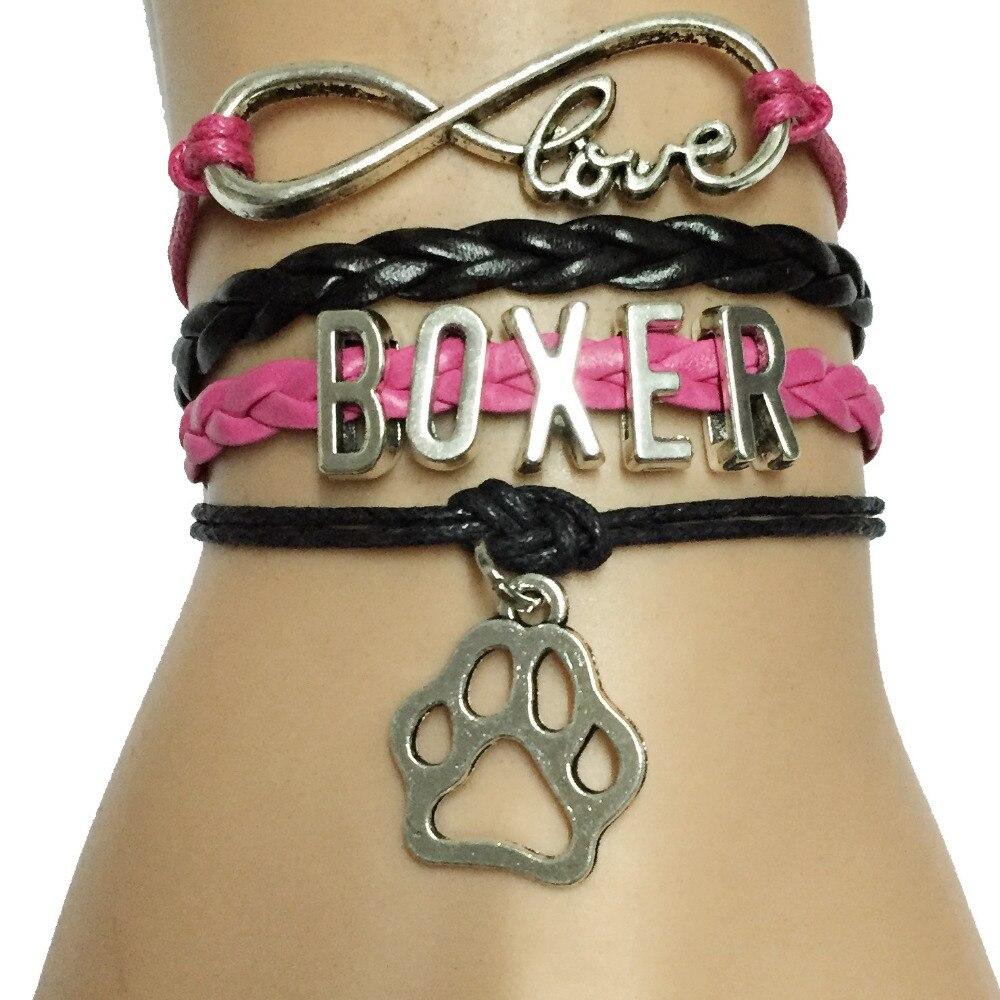10pcs Infinity Love Boxer Paw Bracelet- Animal Dog Paw Print Charm Leather Braid Handmade Puppy Gift