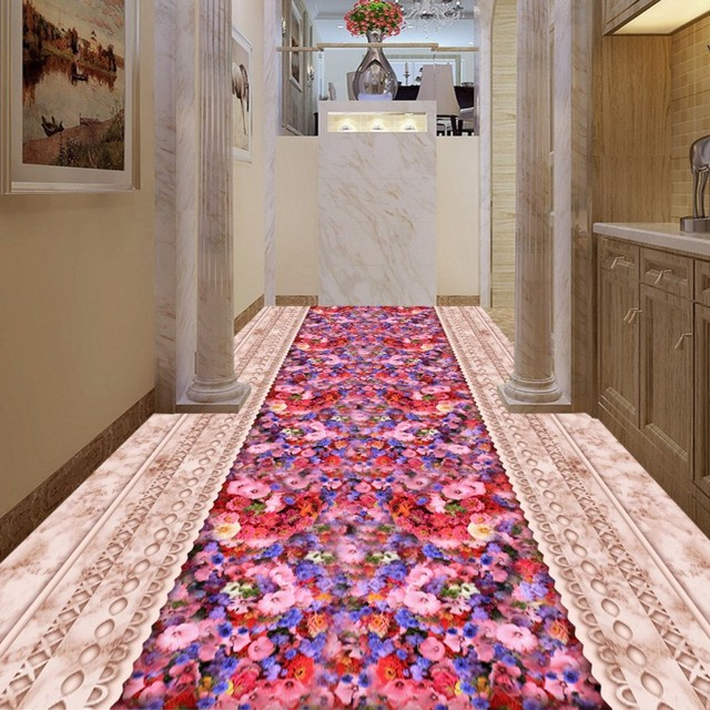 Free Shipping marble parquet roses living room bathroom 3D floor ...