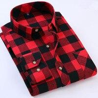 2017 New Autumn Winter Men Flannel Plaid Shirt Cotton Casual Long Sleeve Shirt Fashion Soft Slim