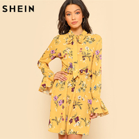 SHEIN Yellow Dress Women Spring Dresses Casual Tie Neck Elastic Waist Floral Dress Ruffle Long Sleeve