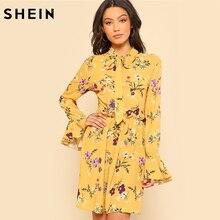 Шеин желтое платье Для женщин весенние платья Повседневное галстук шеи упругие талии платье с цветочным рисунком с оборками с длинным рукавом сдвиг Для женщин платья