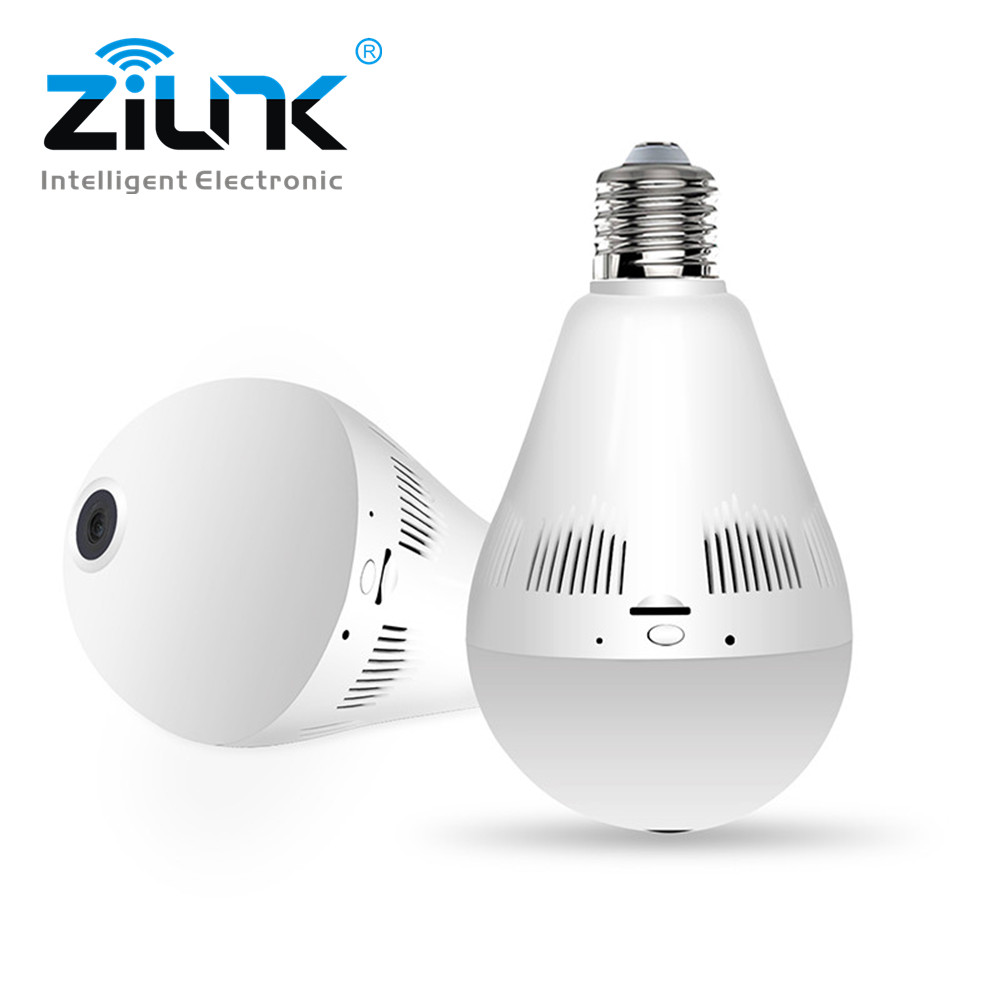 ZILNK 1080P HD Bulb Light Wireless IP Camera Wi-FI FishEye 360 Degree Panoramic Mini Lamp Wifi Camera IR CCTV Home Security 1440p hd 3mp bulb light wifi mini panoramic wireless ip camera fisheye 360 degree panoramic mini lamp wifi p2p cam home camera