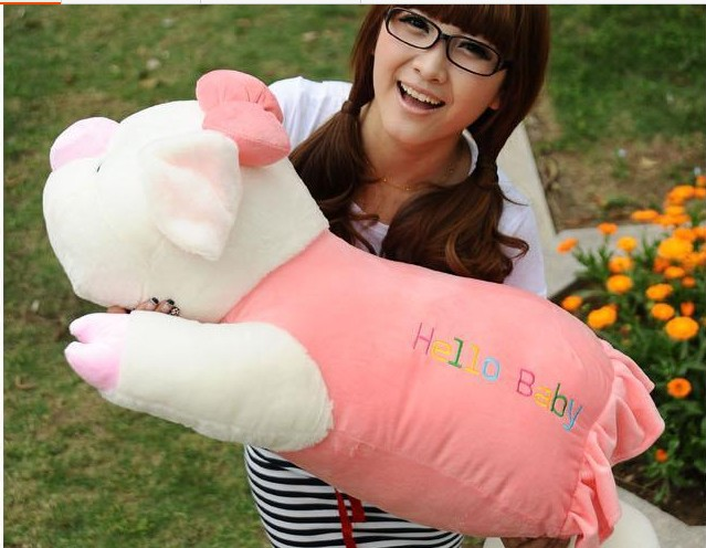 huge plush cartoon pig toy lovely pink pig pillow toy big puppy doll gift about 90cm 0263 цена и фото