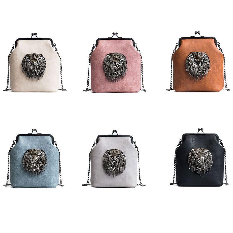 Women\'S Tassel Chain Bag Leather Shoulder Bags Crossbody Handbag Ladies Messenger Hobo Purse