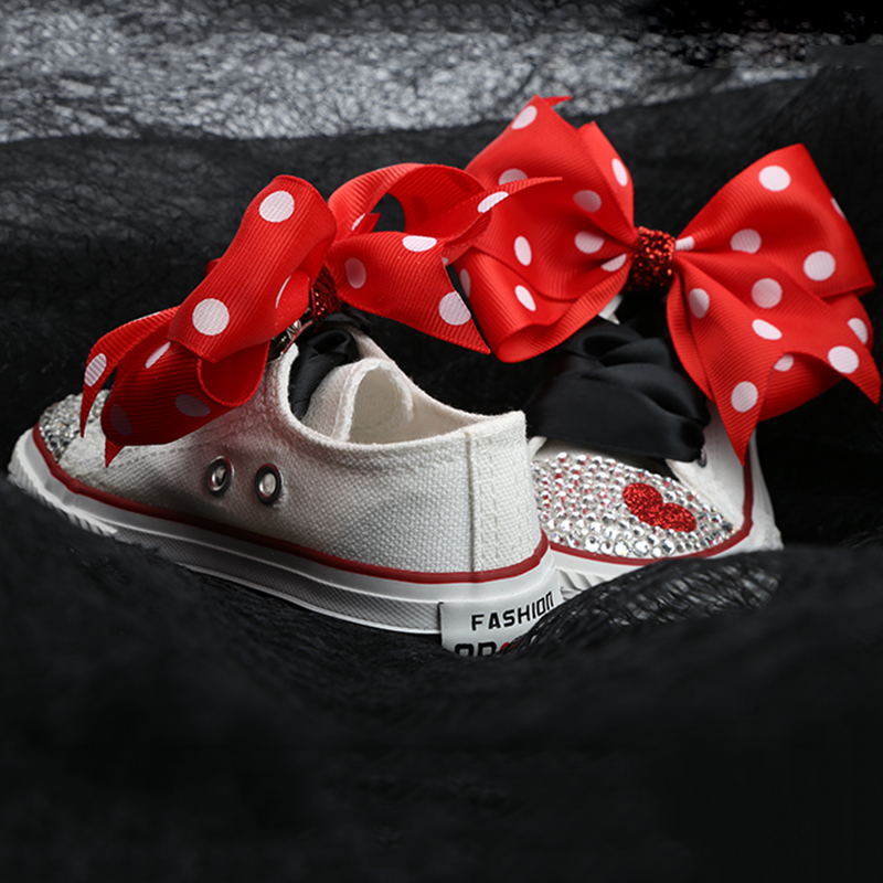 Image 4 - Dollbling ChildrenS Canvas Shoes Lace Bow Custom Hand Toe With Diamonds Low Canvas Casual Flat Shoe ChildrenS Sports ShoesSneakers   -