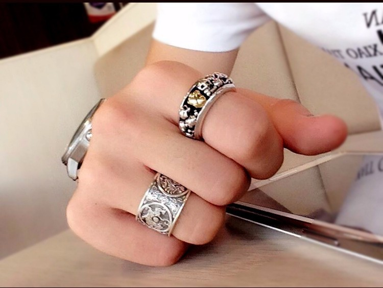 Chinese Traditional Culture 999 Sterling Silver Ring for men