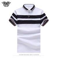 Voreloceブランドファッションフィットpoloシャツ男性ステッチ2017夏新綿poloシャツ海軍グレーホワイト
