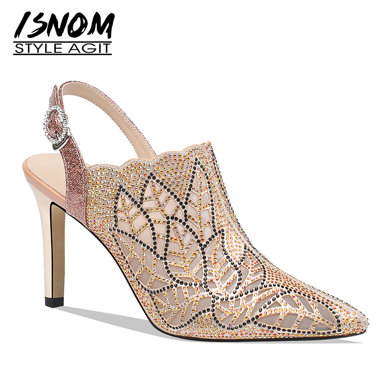 ISNOM Mesh Crystal 2019 New Pumps Women Thin High Heels Pumps Wedding Shoes Female Pointed Toe