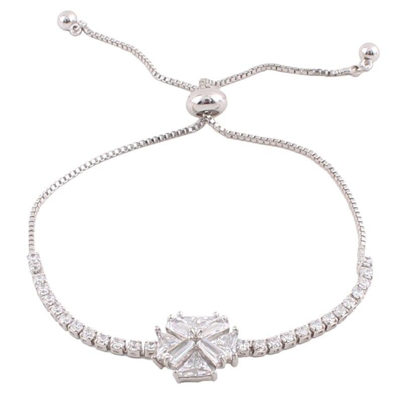 061ed4418a1c Grace Jun (TM) material de cobre de alta calidad pulseras de doble cruz con  forma de flor pulseras de circonita cúbica para joyería de mujer