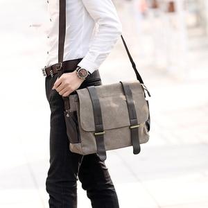 Image 3 - Fashion mens bag PU Leather Shoulder bag men Crossbody Bags For Mens Canvas Business Messenger Bag Men Black Satchels