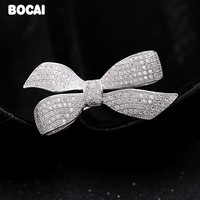 S925 Bow zircon brooch micro mosaic technology simple fashion boutonniere