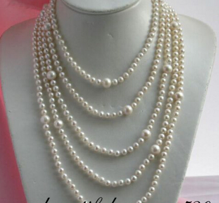 """FREE shipping>z2022 long 100"""" 11mm white round freshwater pearl necklace 6.07"""