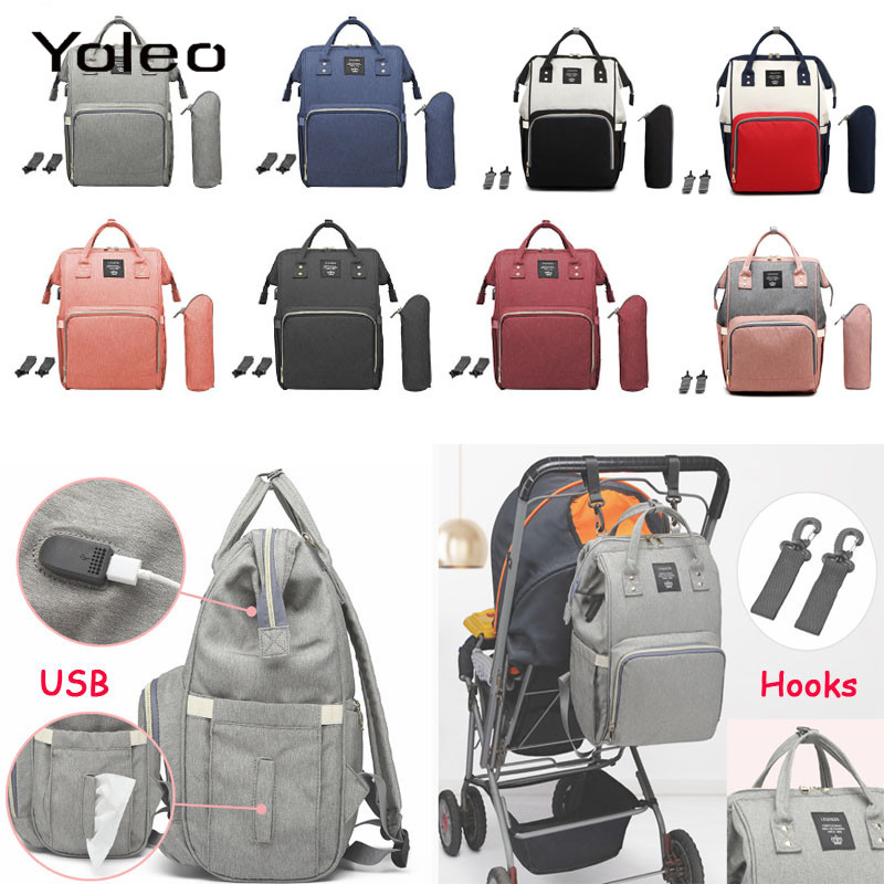 USB Water-proof Diaper Bag Toddler Mommy Diaper Backpack Travel Bag Large Capacity Nursing Nappy Bag With Anti-loss Zipper