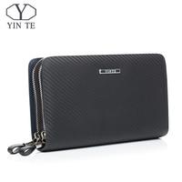 YINTE Leather Men's Clutch Wallets Business Black Bag Passport Wallet Phone Purse Men Leather Card Holder Men Wrist Bags T023 2