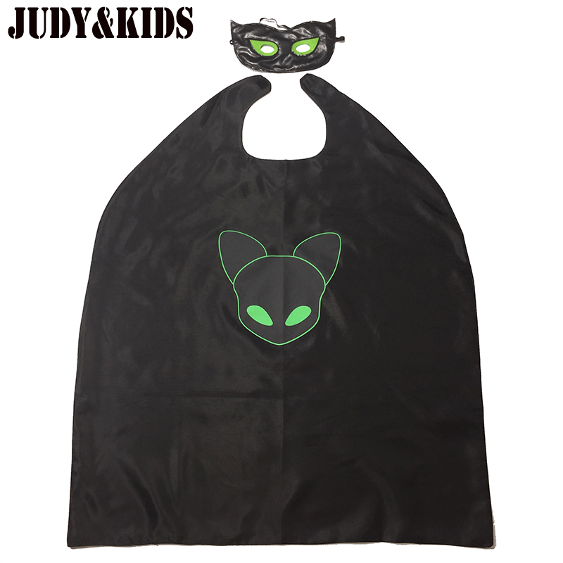 Costumes For Boys Girls Masks Cape 2Pcs Cloak Black Cat Noir Adrien Clothing Set Party Suit Cosplay Ladybug Cartoon Carnival hot sale open front geometry pattern batwing winter loose cloak coat poncho cape for women