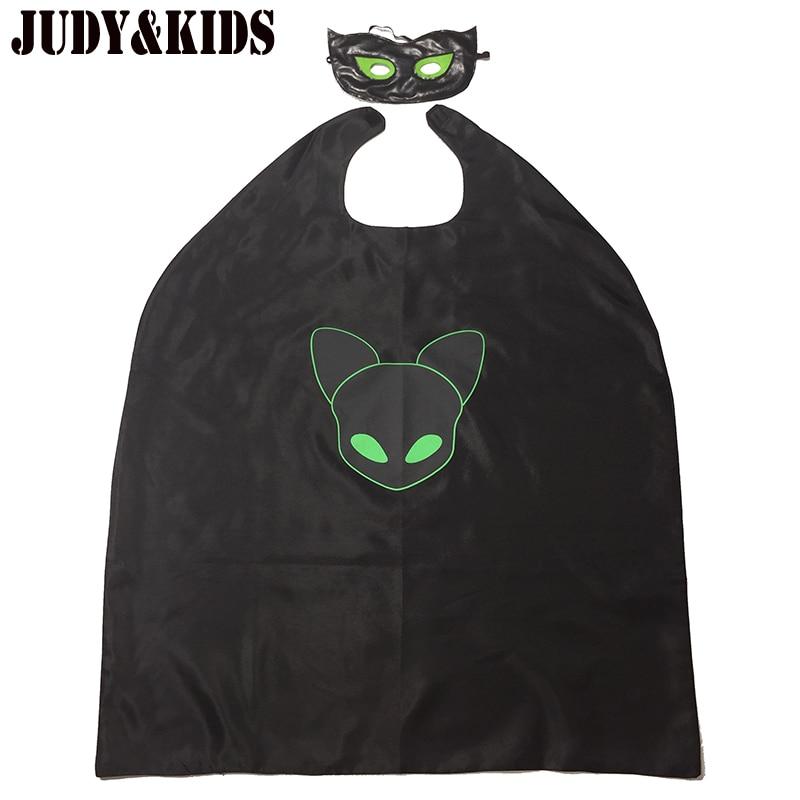 Costumes For Boys Girls Masks Cape 2Pcs Cloak Black Cat Noir Adrien Clothing Set Party Suit Cosplay Ladybug Cartoon Carnival