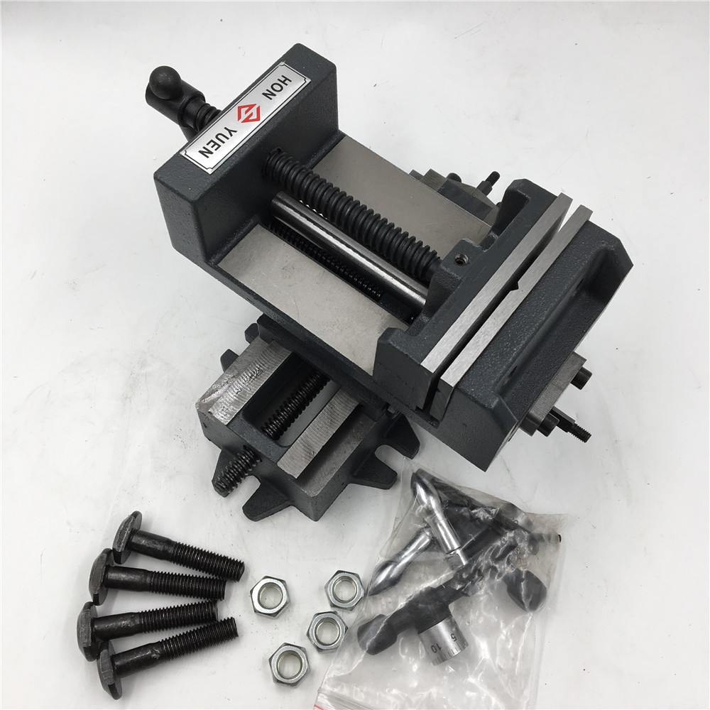 4 Inch Cross Press Bench Vise 2 Way X-Y Clamp Metal Milling Fixture Stroke 110*130mm CNC 25 metal milling press quill feed return coil spring assembly 48 x 25mm max d t
