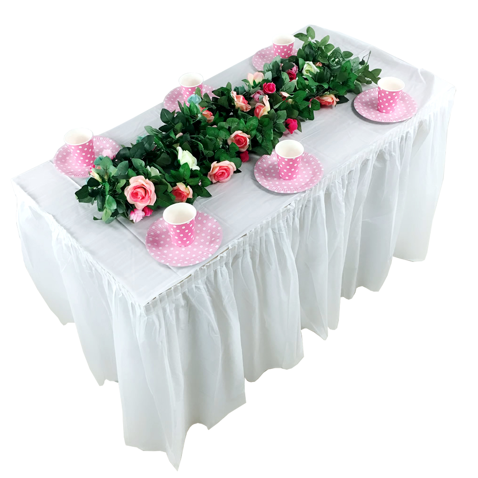 1pcs 420x70cm Birthday Party Disposable PEVA Table Skirt Plastic Table Cover For Wedding Baby Shower Home Festival Decoration