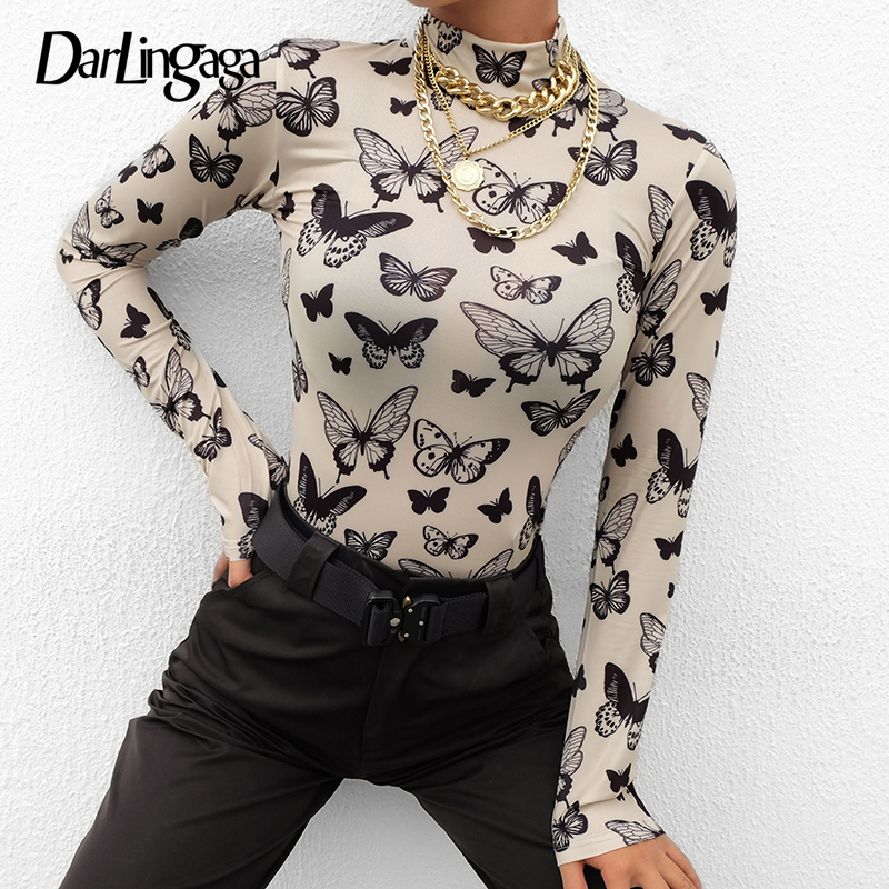 Darlingaga Casual Turtleneck Long Sleeve Women T-shirt Butterfly Print Thin Slim Tops Tees 2019 Spring Bodycon T Shirt Clothing