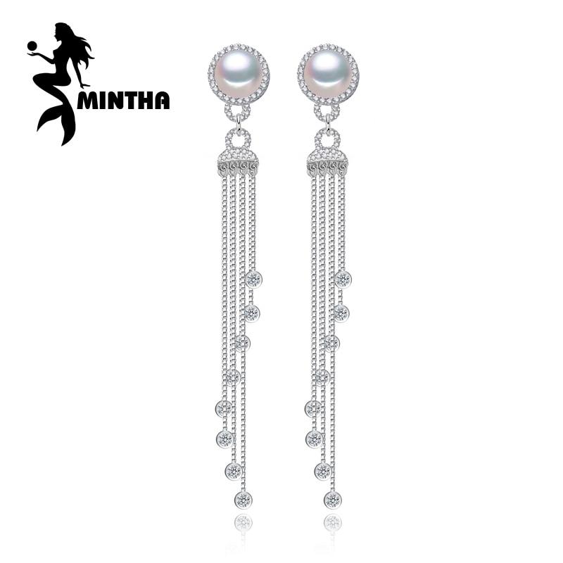 MINTHA fine Jewelry long earrings for Women Wedding Jewelry Pearl 925 Sterling Silver tassel earrings big party pearl earrings pair of retro faux pearl tassel earrings for women