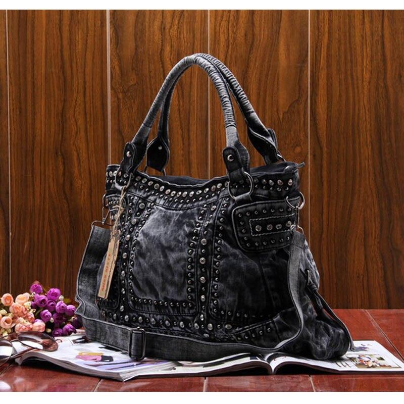 Famous Brand Denim women large shoulder bag female jeans hobos bag with rivet women handbag-in Shoulder Bags from Luggage & Bags    2