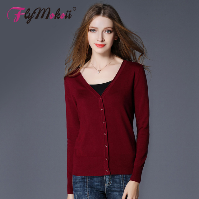 2018 New Top Selling Spring Woman Sweater Tops Fashion Knitted Long Sleeve V-Neck Solid Loose Size Casual Woman Cardigan Sweater