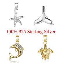 100% Sterling Silver Whale Mermaid Tale Dolphin Turtle Starfish Charm Pendant for Women's Necklaces Jewelry Making Charms(China)