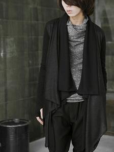 Image 3 - Men gothic punk hip hop hoodie irregular design long cloak japanese streetwear men nightclub singer stage cardigan costume 6XL