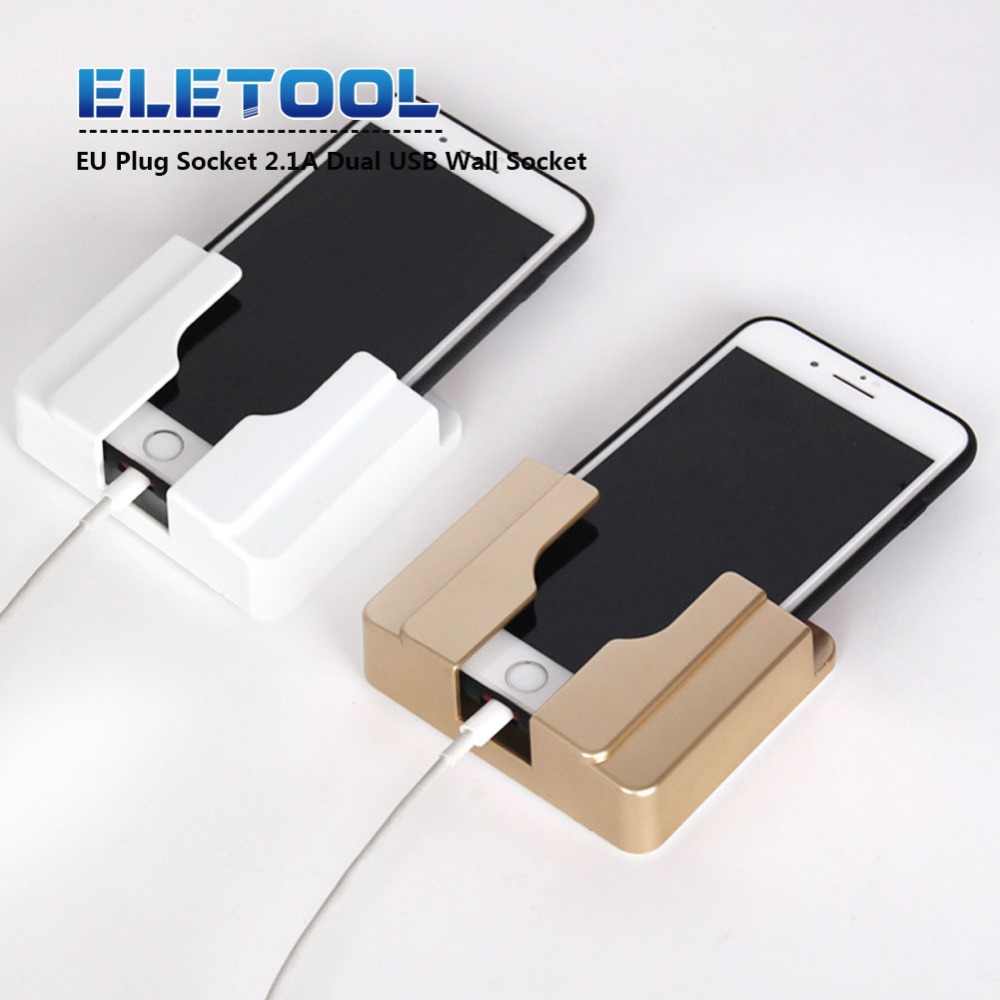 EU Plug Socket 2.1A Dual USB Wall Socket Charger AC/DC Power Adapter Plug Outlet Adapter Paste Holder  PN34