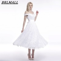 BRLMALL Summer Beach Tea Length Lace Wedding Dresses Off The Shoulder Bridal Gowns 2017 White Wedding