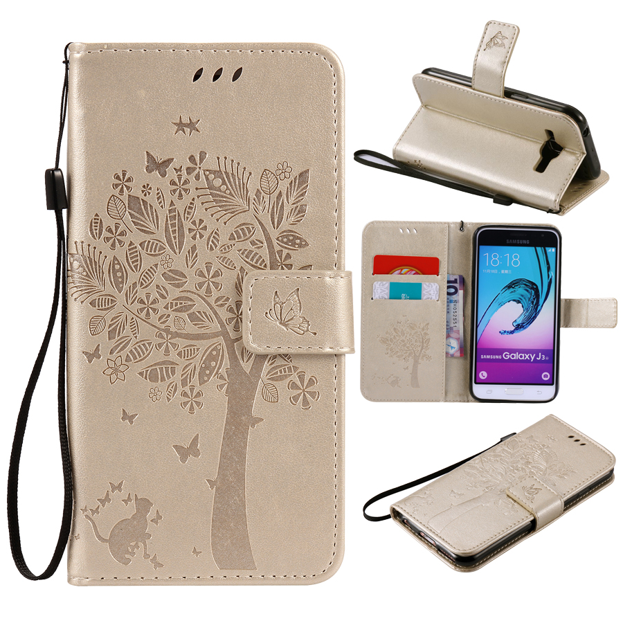 Galleria fotografica For Fundas Samsung Galaxy J3 J300 J310 case For Samsung J3 2016 J310 J310F Coque 3D Pattern Wallet Flip Cover Leather Case