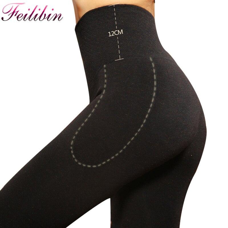 Feilibin Women   Leggings   Winter Warm Pants Cashmere High Waist Slimming Wool Thicken High Elastic Women's Warm Velvet   Leggings