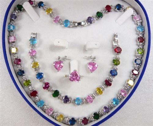 Бесплатная доставка >>>>> многоцветный циркон ссылка браслет / серьги / кольца / колье AAA0066