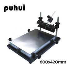 New pattern PUHUI 600x420mm Big Size PCB Solder Paste Manual Stencil Printer T-shirt Screen Printing Machine zb3244h manual micro adjustment silkscreen machine simple solder paste printing machine