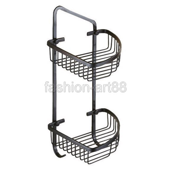 ФОТО Black Oil Rubbed Brass Wall Mounted Bathroom Accessory Bath Dual Tier Large Corner Shower Storage Basket aba122