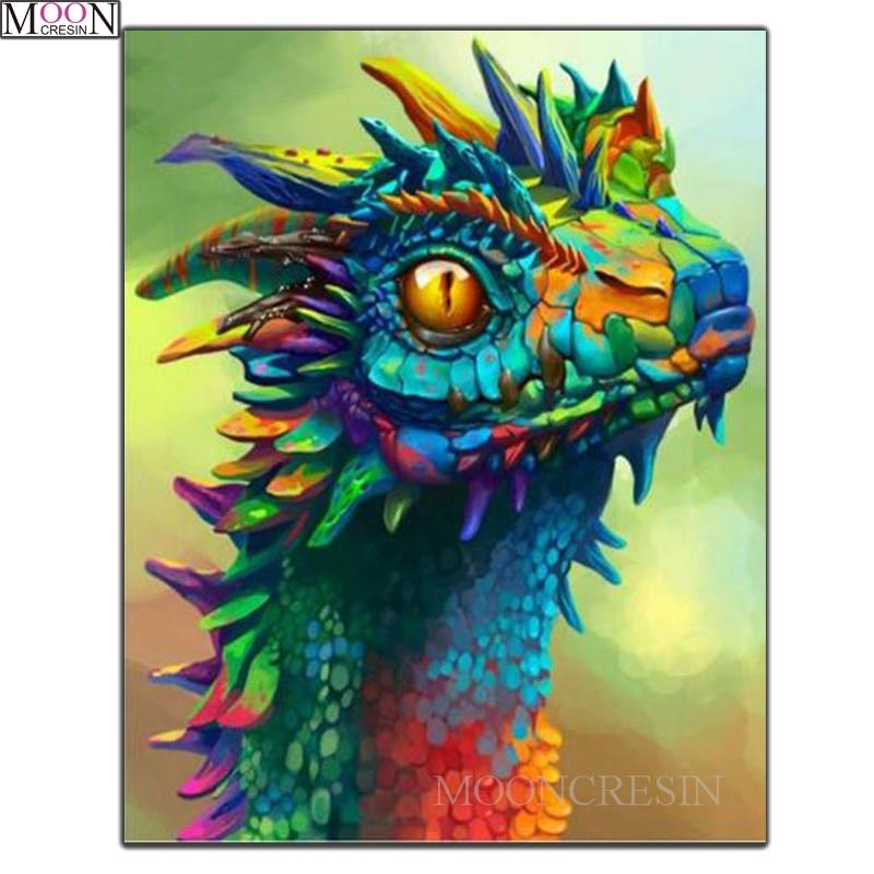 MOONCRESIN DIY Diamond Painting Cross Stitch Cartoon Dragon Embroidery Square Drill Mosaic Needlework Decoration
