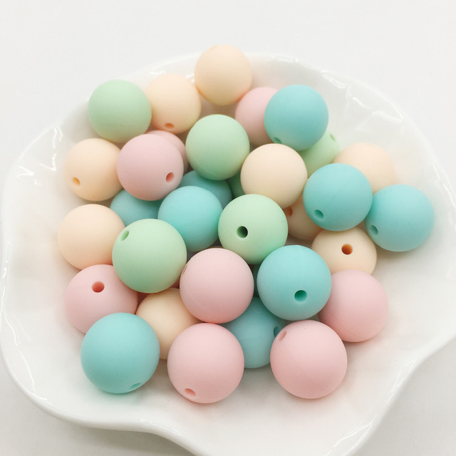 15MM Silicone Beads Teether Aqua Color 100PC Round Silicone Beads 15mm BPA Free Set Silicone Teething Beads Teether