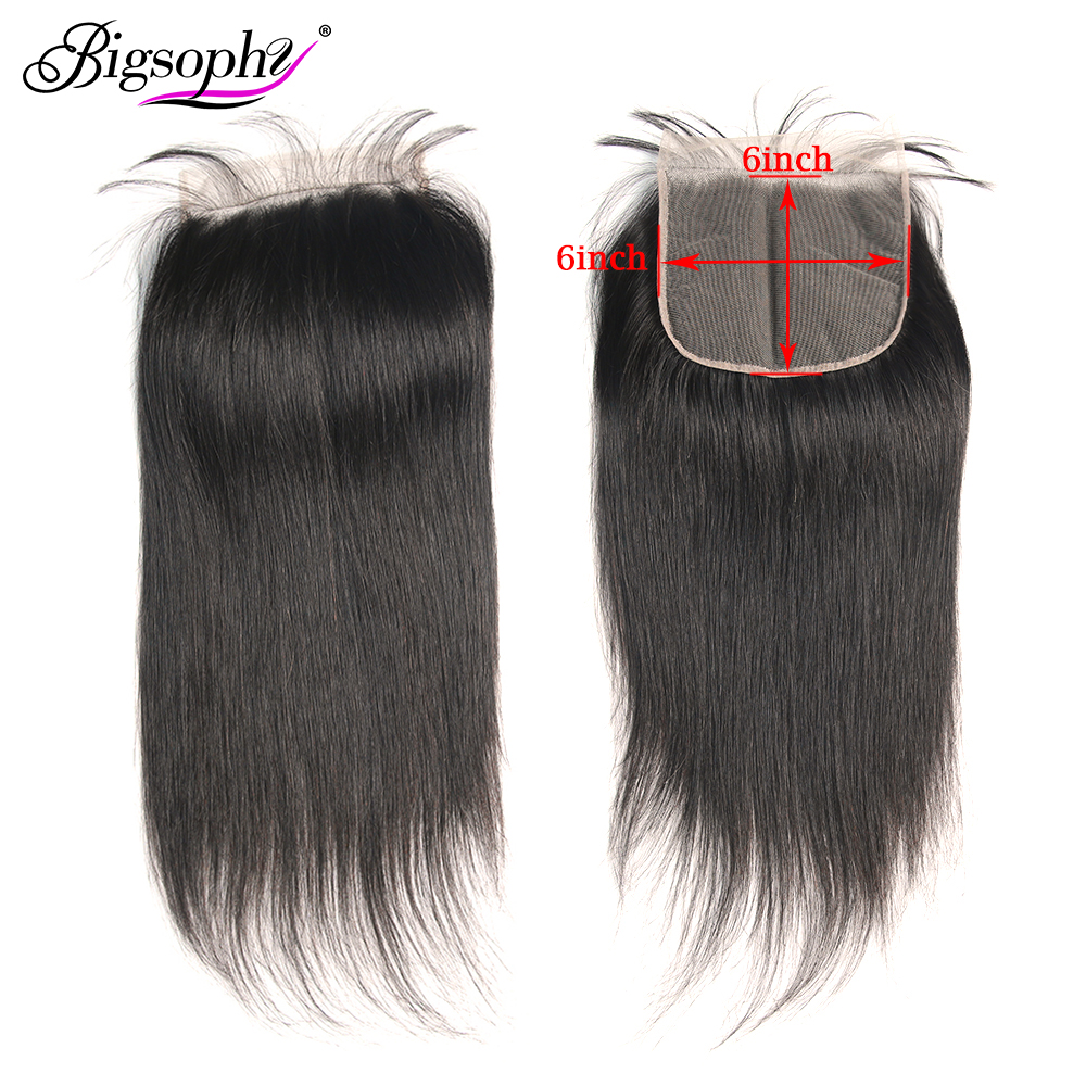 Bigsophy Malaysian Hair Straight 6x6 Lace Closure 100% Human Remy Hair With Baby Hair Closure Swiss Lace Natural Color 8-24 Inch(China)