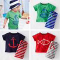 New 2017 Children Clothing Sets Cotton Casual Kids Boys Summer Clothing Set Toddler Suits Short Sleeves T shirts + Striped Short