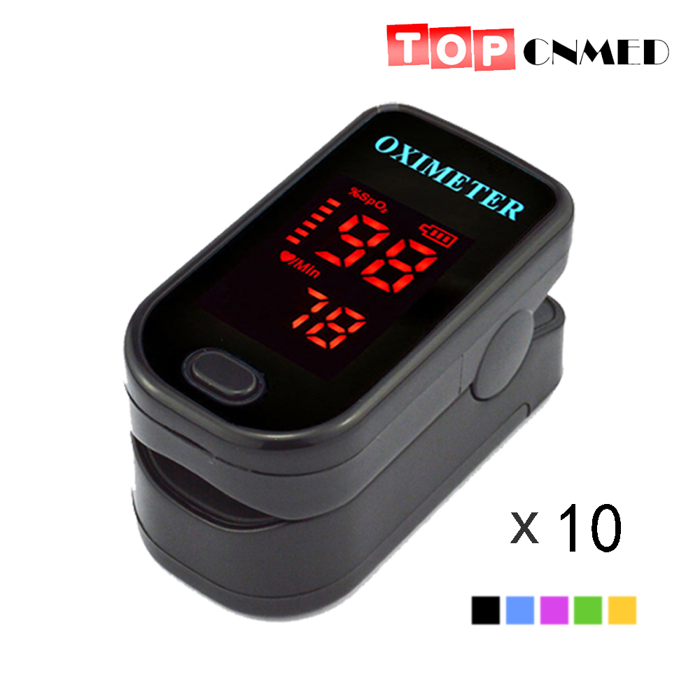 10 pcs lot CE ISO Approved LED Fingertip Pulse Oximeter Blood Oxygen SpO2 5 Color Available