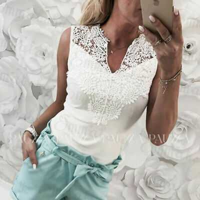 2019 New Summer Women Sleeveless Top White Light Blue Sexy Lace Hollow Slim   Blouses     Shirt   Lady V-neck Casual   Shirt   Clothes