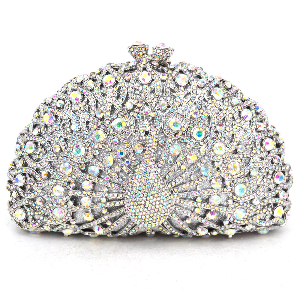 Animal Luxury Crystal Evening Bag Peacock diamond party purse pochette soiree Women Chain handbags wedding Bag Day Clutches