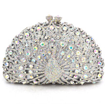 LaiSC Luxury Crystal Evening Bag Peacock Clutch diamond party purse pochette soiree Women evening handbag wedding clutch bag 049