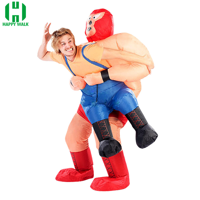 New Inflatable Wrestler Costume Halloween Costumes For Adult Men Party Clothes For Men Wrestling Cosplay Costume Kits Carnival