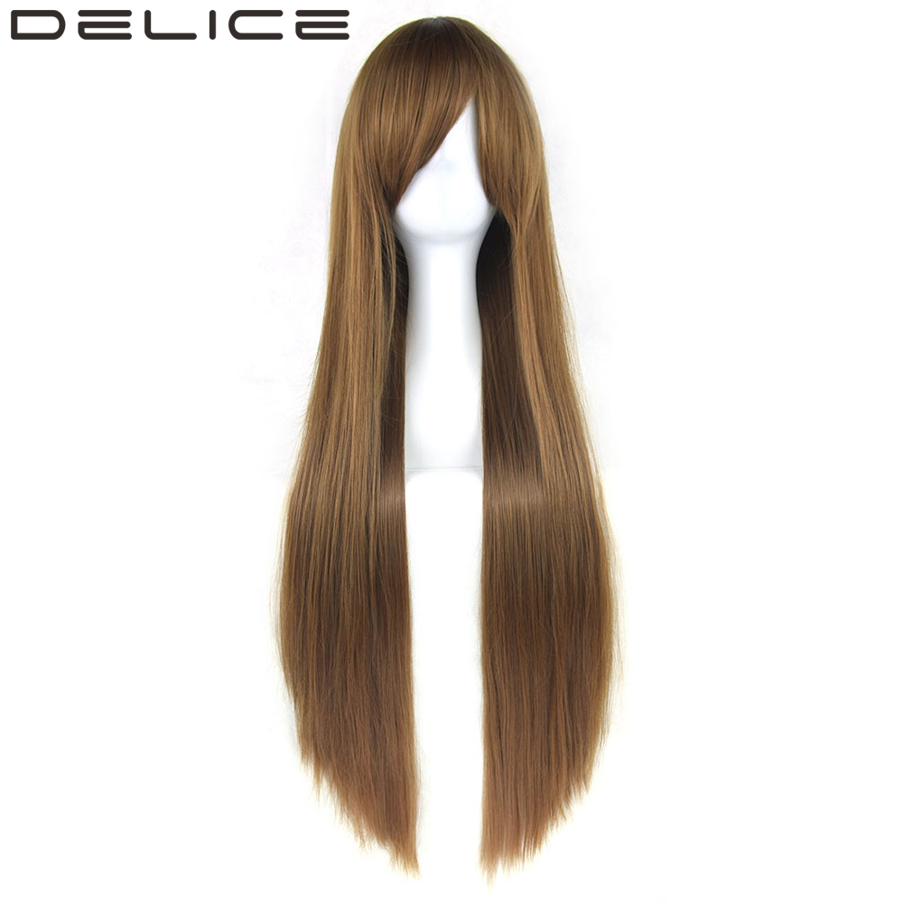 DELICE 32 220g Long Straight Women S Heat Resistant Synthetic Hair Brown Party Cosplay Wig
