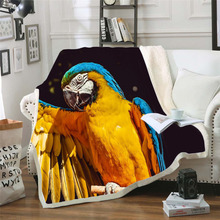 Plstar Cosmos colorful Parrot brid Blanket 3D print Sherpa on Bed Kids Girl Flower Home Textiles Dreamlike style-6
